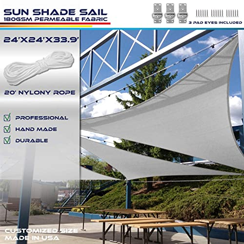 Windscreen4less 16 x 24 x 28.8 Triangle Sun Shade Sail – Solid Light Grey Durable UV Shelter Canopy for Patio Outdoor Backyard Included Free Pad Eyes – Custom Size 3 Year Warranty