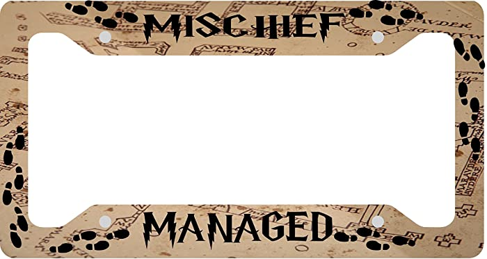 mischief managed aluminum license plate frame sublimation printed