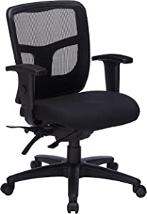 "Lorell Managerial Swivel Mesh Mid-Back Chair, 5.8"" Height X 27.6"" Width X 8.5"" Length"
