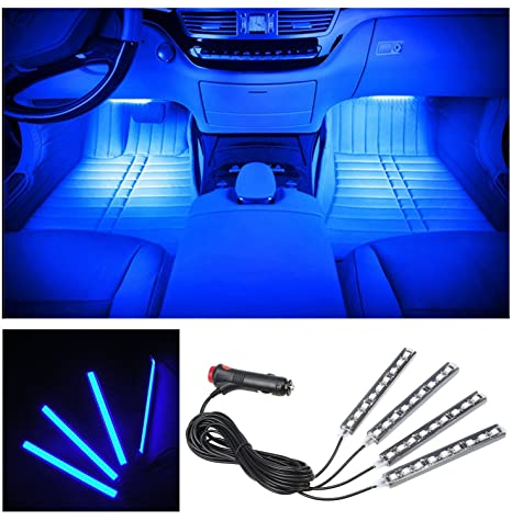 Led Per Auto Interni.Huston Lowell 4pcs Car Led Strip Lights Interior Decorative Lights Waterproof Blue Dc12v