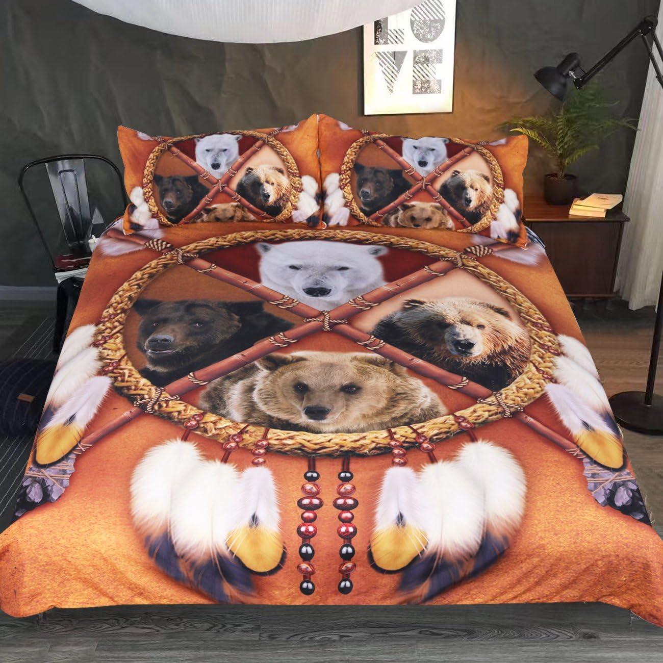 Sleepwish Bear Bedding Gold Brown Dream Catcher Duvet Cover 3 Pieces Wild Animal Bedspread (Queen)