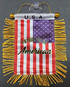 American USA Flags for car Interior Rearview Mirror or Home Sticks to Windows Glass Quick and Easy Quality Small Hanging Mini Banner Flags car Accessories (1)