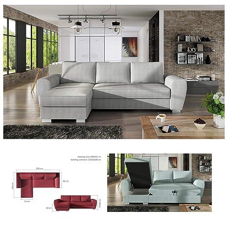 BMF velo grigio piccolo tessuto o ecopelle angolo divano letto con ...