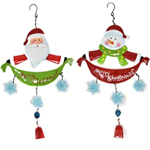 Gift Boutique Metal Merry Christmas Wind Chimes Set of 2 Santa and Snowman Winter Snowflakes with Bell Hanging Ornament Outdoor Decorations Great for Holiday Garden Outside & Indoor Door Decor