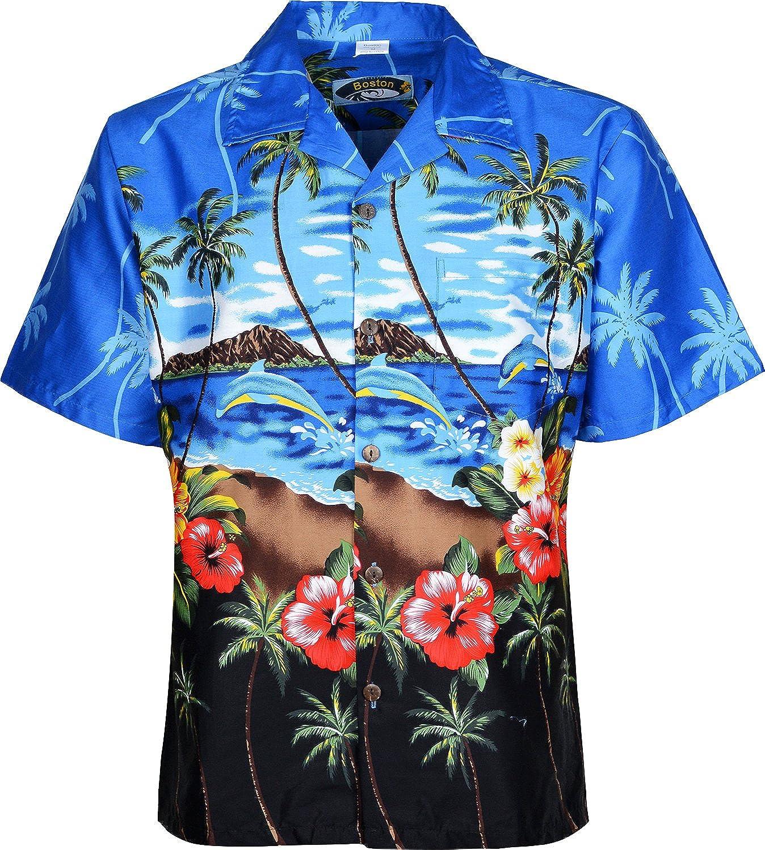 Mens Hawaiian Shirts Short Sleeves Beach Floral Printed Shirt:  Amazon.co.uk: Clothing