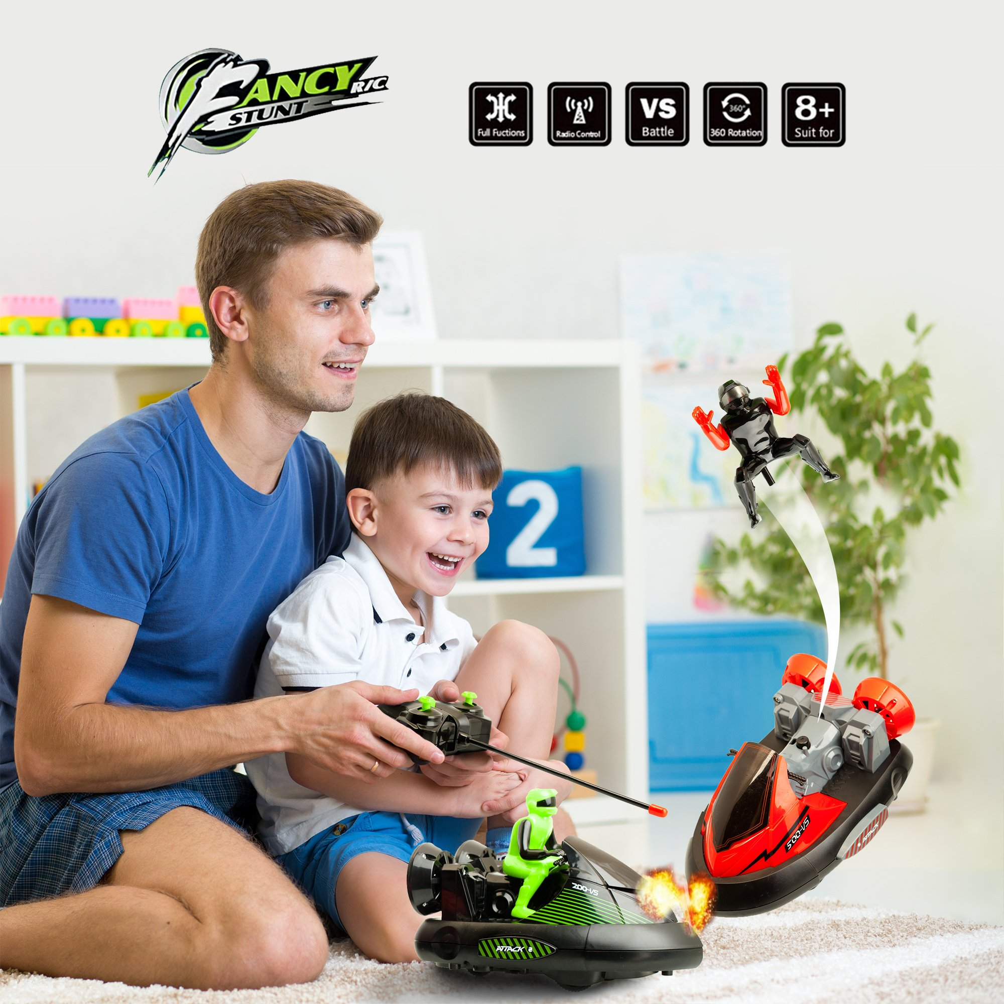 ToyThrill 2 Pack Remote Control Bumper Cars – Two Player Stunt RC Toy with Ejectable Drivers and Crash Sounds - Batteries and Adapter Included – Green and Red by ToyThrill (Image #5)