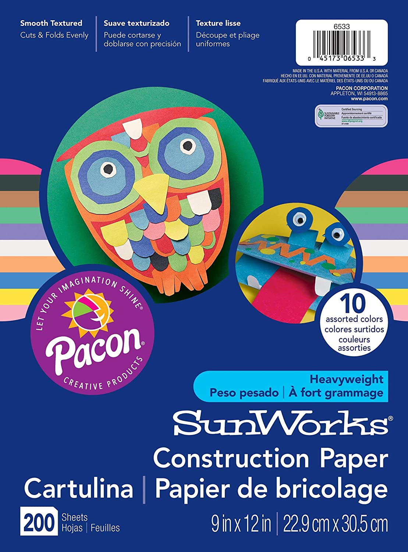 10 Assorted Colors SunWorks Construction Paper 100 Sheets 9 x 12