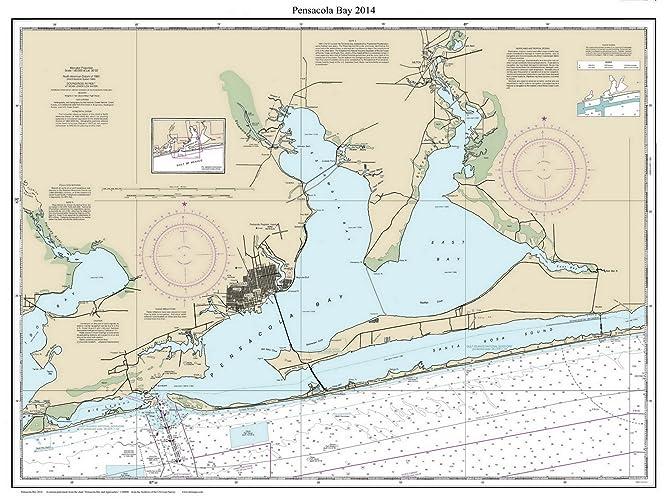 Amazon Com Pensacola Bay 2014 Nautical Map Florida Custom Print