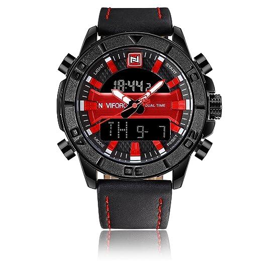 Naviforce reloj de los hombres del deporte militar de moda vintage analógico Digital cuarzo reloj de