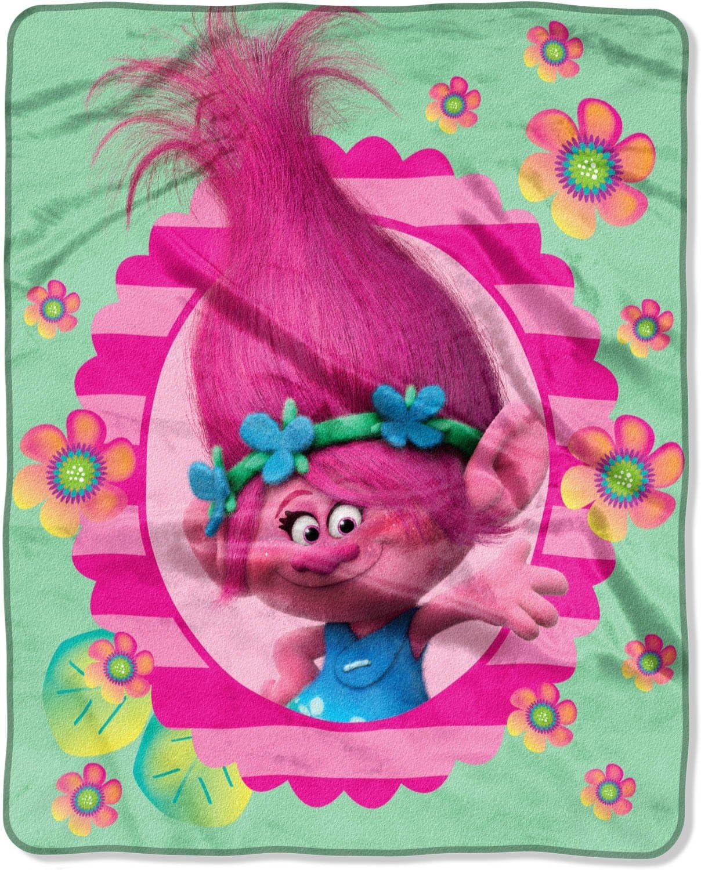 "DreamWorks Trolls /'Flower Power/' 40/"" x 50/"" Silky Soft Throw Blanket New"