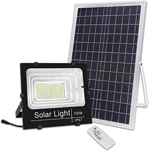 Brillihood 100W LED Solar Panel Security Light, 5,000 Lumens, Outdoor Solar Powered Floodlight Waterproof Street Light with Remote Control for Lawn, Yard, Garden, Gutter, Swimming Pool, Pathway