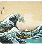 """Japonmania–furoshiki con """"La grande Onda di Hokusai, 50x 50cm, colore: beige"""