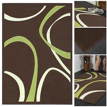 Trendiger Designer Teppich Mit Abstraktem Muster In Braun Grün Creme |  Teppich Läufer Mit Modernen
