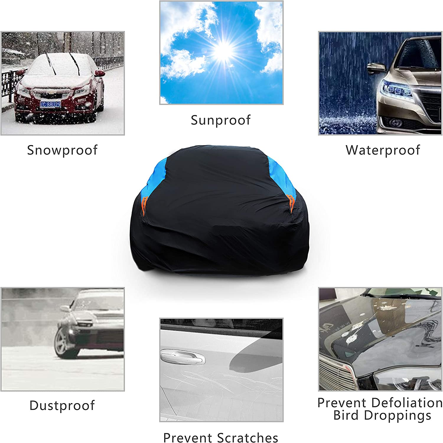 Fit Sedan Length 186-193 inch MORNYRAY Waterproof Car Cover All Weather Snowproof UV Protection Windproof Outdoor Full car Cover Universal Fit for Sedan