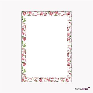 detailverliebt Romantic Paper Floral Frame A4 50 Sheets, Writing ...