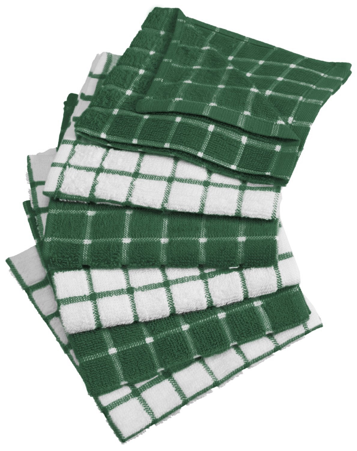DII 100% Cotton, Machine Washable, Ultra Absorbant, Basic Everyday 12 x 12 Terry Kitchen Dish Cloths, Windowpane Design, Set of 6- Dark Green by DII