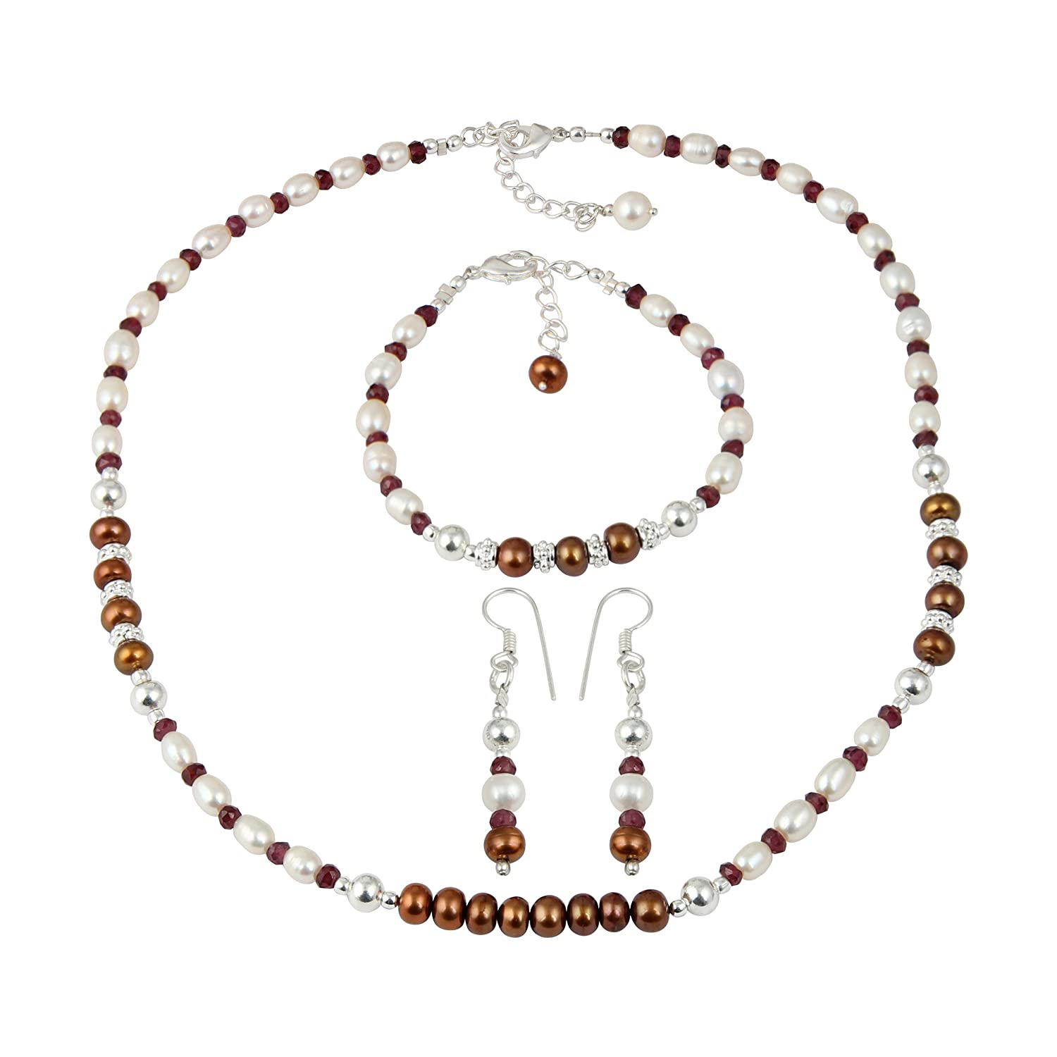 Rhodolite Garnet Dyed Chocolate Cultured Freshwater Pearl Fashion Necklace Earrings Bracelet Jewelry Set