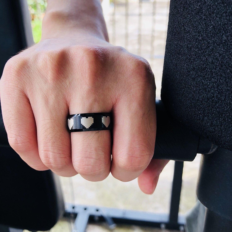 MPRAINBOW Pixel Love Ring-Stainless Steel Rings for Men\'s Boy\'s ...