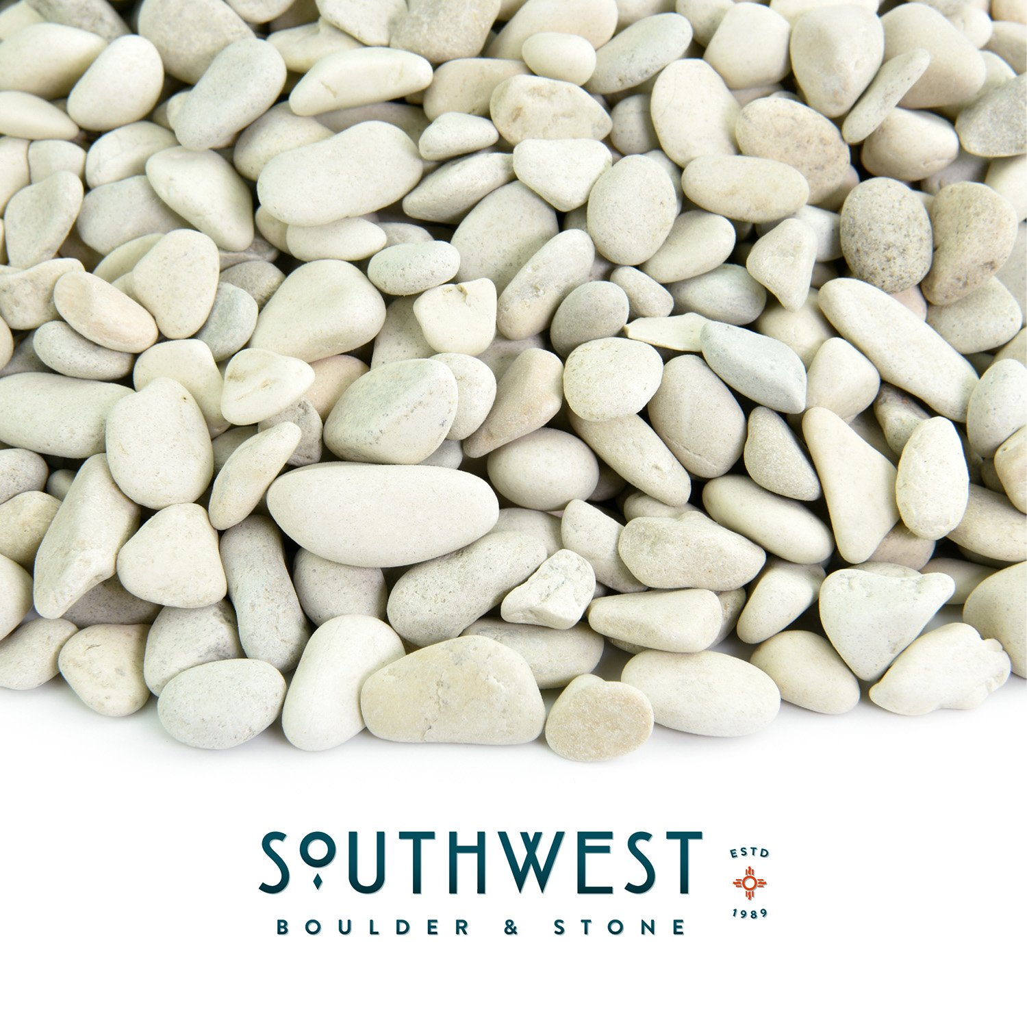 Polished Pebbles | 5 Pounds of Natural, Decorative Stones | Hand-Picked, Premium Pebbles for Aquariums, Terrariums, Fish Tanks and Gardens | Polynesian White, 3/8 Inch - 5/8 Inch