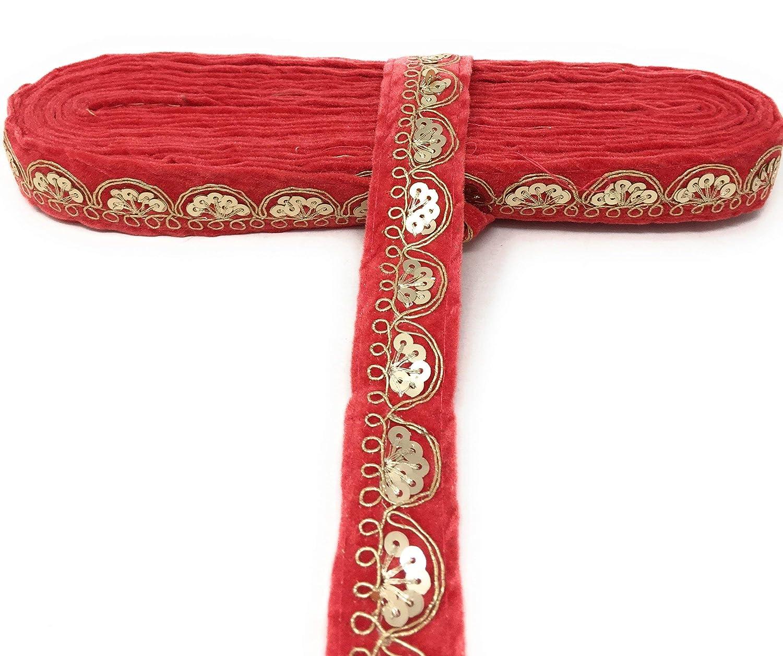 Sequins Flat Trim Inhika 9 Yard lace Border Trim for Women Saree Dupatta Colour Black Gold on Velvet Material 2.5 cm Wide Embroidery