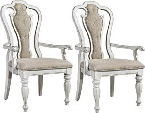Liberty Furniture Industries Magnolia Manor Splat Back Upholstered Arm Chair (RTA) (Set of 2), White