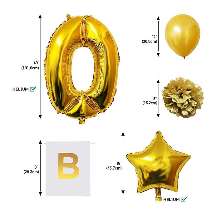 BELLE VOUS Globos Cumpleaños Happy Birthday, Suministros y Decoración Globo Grande de Aluminio - Decoración Globos De Látex Dorado y Blanco - Apto para ...