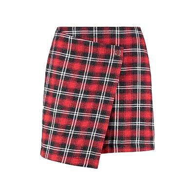 Boohoo Womens Poppy Woven Check Wrap Mini Skirt