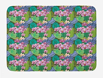 Amazon.com: Ambesonne Orchids Bath Mat, Pastel Aloha Motifs Hipster on caribbean colors and decorating, caribbean style bathrooms, caribbean party themes, caribbean wedding themes, caribbean bar themes, caribbean luxury bathrooms,