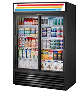 "True GDM-47-HC-LD Sliding Glass Door Merchandiser Refrigerator with Hydrocarbon Refrigerant and LED Lighting, Holds 33 Degree F to 38 Degree F, 78.625"" Height, 29.875"" Width, 54.125"" Length"