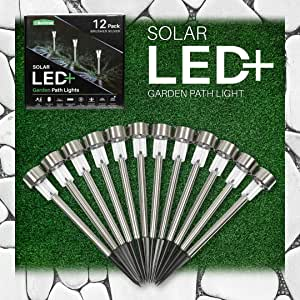 Outdoor Solar Lights Landscape Lighting: Deluxe 12 Pack Stainless Steel Solar Powered LED Patio Lights - Outside Pathway Deck Garden or Home Security Driveway & Backyard Path Light for Lawn or Walkway
