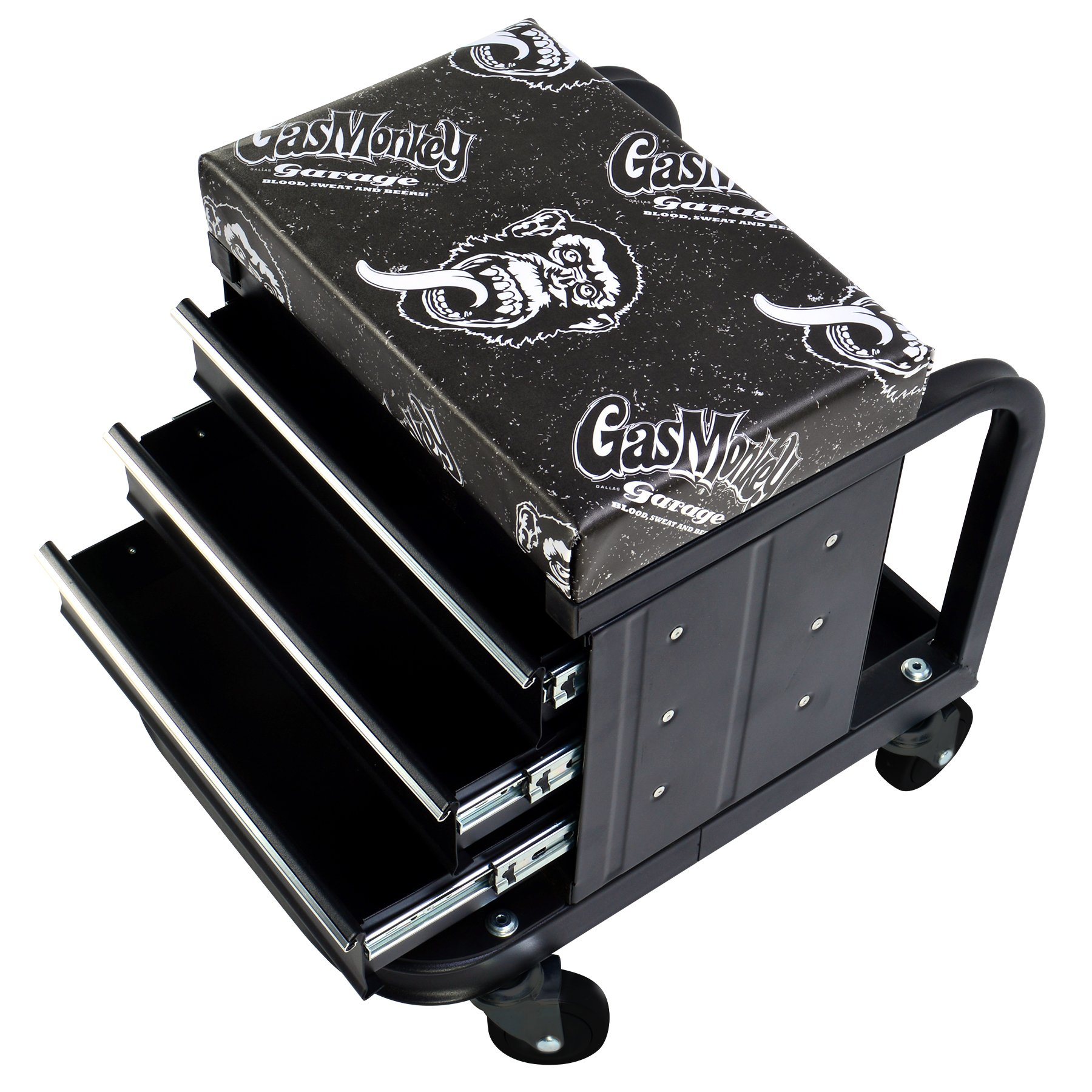 Gas Monkey Creeper Seat and Tool Box Combo - 3-Drawers Toolbox with 4 Rolling Casters - 450 Lbs Capacity