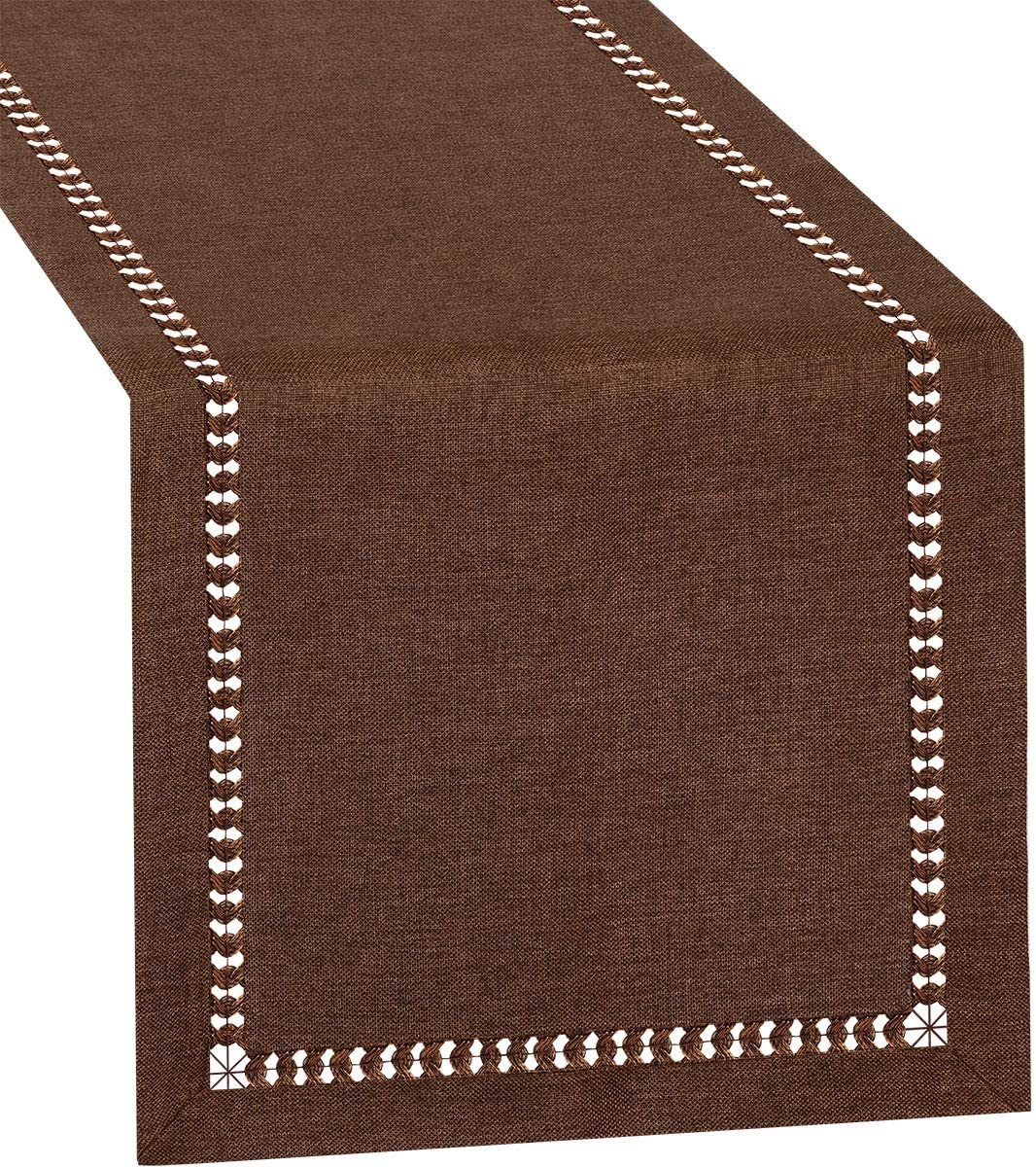 Grelucgo Small Short Hemstitch Chocolate Brown Table Runner, Dresser Scarf, Solid Color (14 x 48 inch)