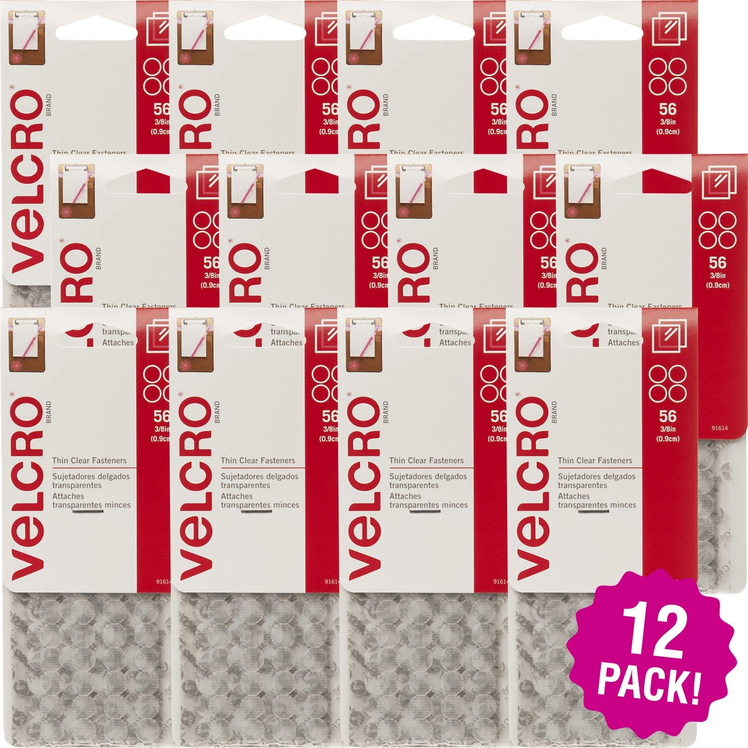 Velcro 96969 R Brand Thin Fastener Dots .375'' 56pc-12/Pk-Clear, 12/Pk Clear Pack by Velcro