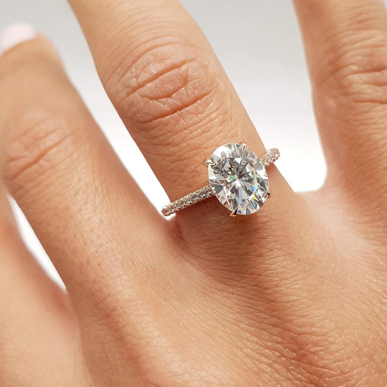 Amazon Com 3 5 Carat Oval Forever One D Vvs1 Set In 14k Rose Gold Moissanite Engagement Ring Handmade