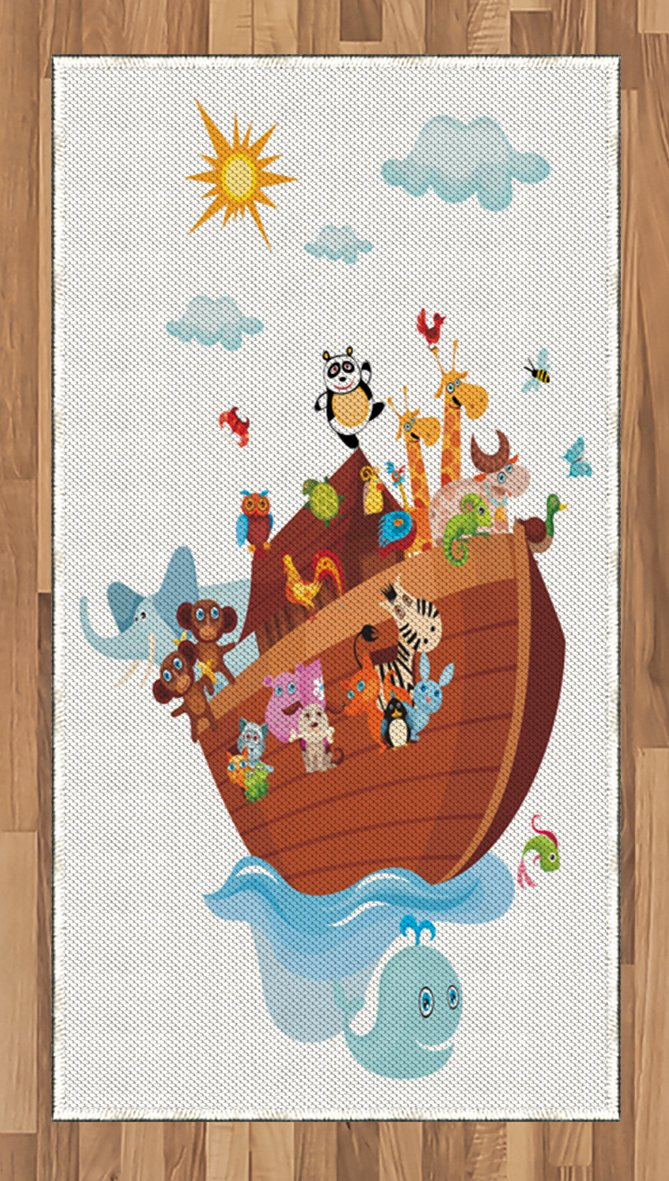 Lunarable Noah's Ark Area Rug, Noah's Ark Cartoon Style Snake Butterflies Bees Insects Fishes Toucan Wildlife, Flat Woven Accent Rug for Living Room Bedroom Dining Room, 2.6 x 5 FT, Multicolor