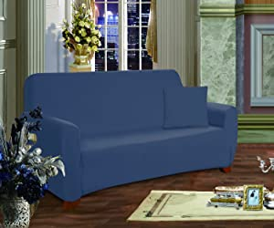 Elegance Linen Collection Luxury Soft Furniture Jersey Stretch SLIPCOVER, Sofa Navy Blue