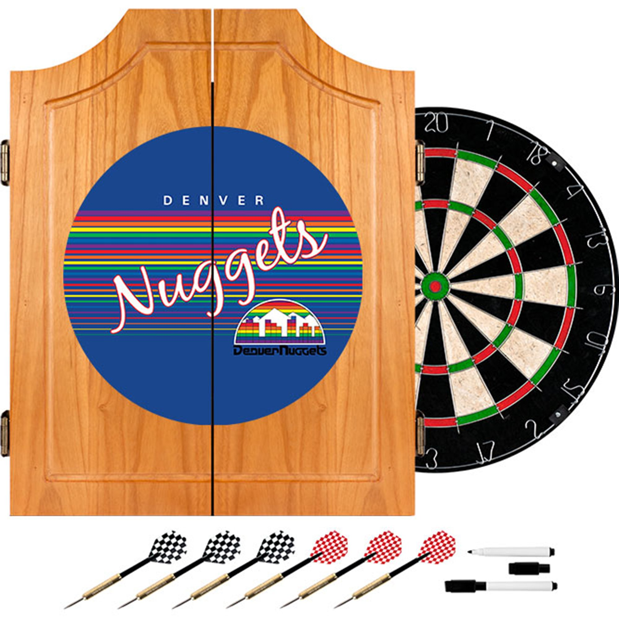 NBA Denver Nuggets Wood Dart Cabinet, One Size, Brown