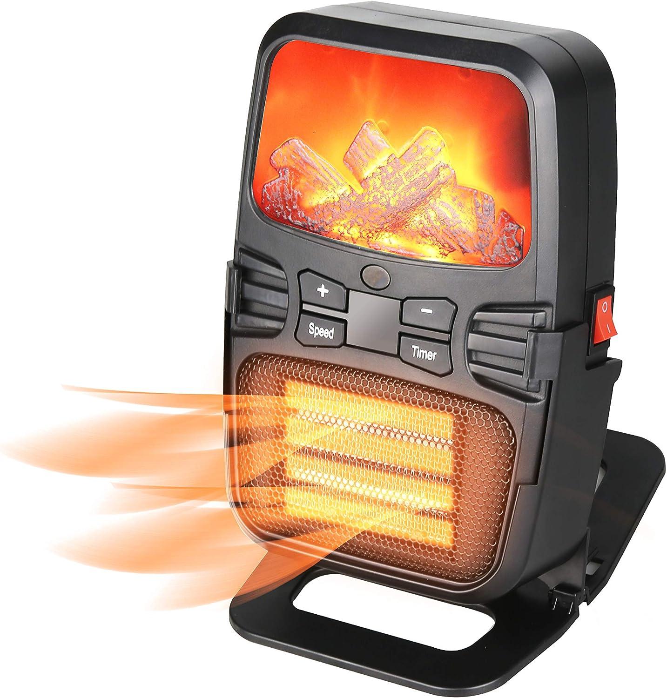 Beofine Mini Calentador De Llama Portátil Eléctrico De Pared De Simulación De Llama del Calentador del Radiador con Enchufe Estándar Europeo De Escritorio del Ventilador del Calentador: Amazon.es: Hogar