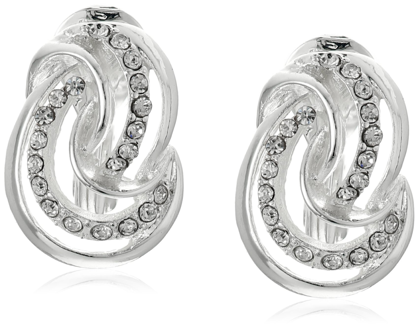 Anne Klein''Endless Clips'' Silver-Tone Crystal Knot Button Clip-On Earrings