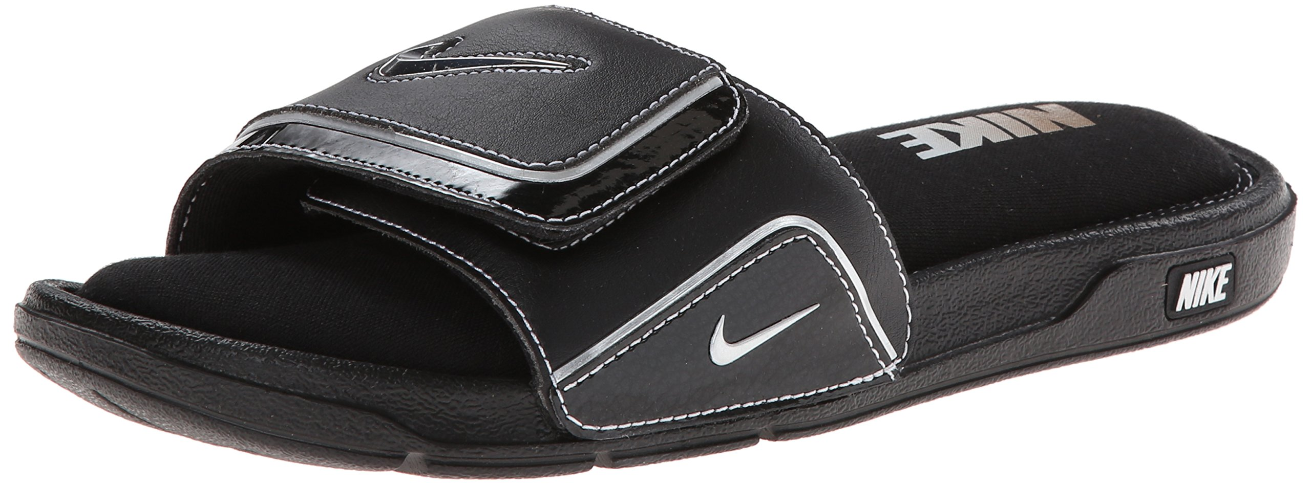Nike Mens Comfort Slide 2 Sandal (8, Black/Metallic Silver/White)