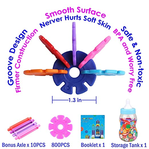 AMOSTING Brain Flakes Interlocking Discs Educational Safe Toy Building Blocks Gifts 800 PCS With Storage Feeding Bottle Stacking