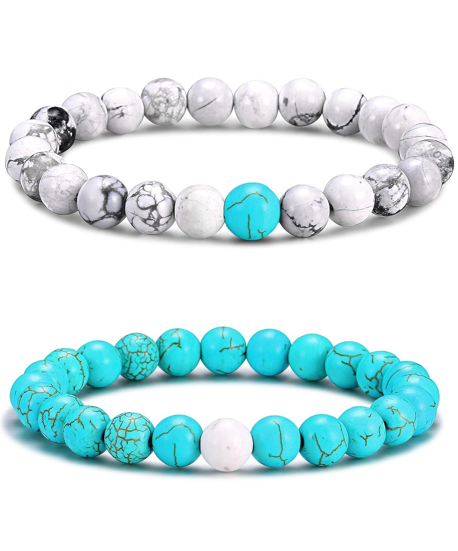 Tornito 2PCS Distance Bracelets Lava Rock & Howlite Couple Friendship Links 7-8 8MM Bead Elastic