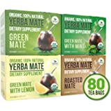 Organic Yerba Mate Tea Bags - Variety Pack - Mate Cocido - Organic Vitamin Packed Natural Detoxifier and Fat Burner - 4 boxes x 20 bags each box (2 grams per bag)