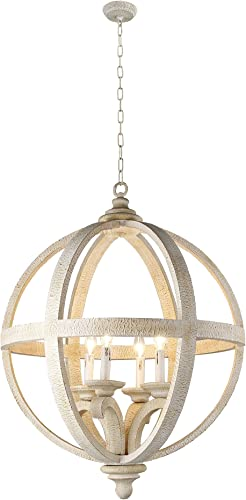 AA Warehousing LZ3225-4S Hercules 4 Light Chandelier in Wooden Globe Frame and Neutral Finish