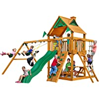 Deals on Gorilla Playsets Chateau Cedar Wooden Swing Set w/Wood Roof