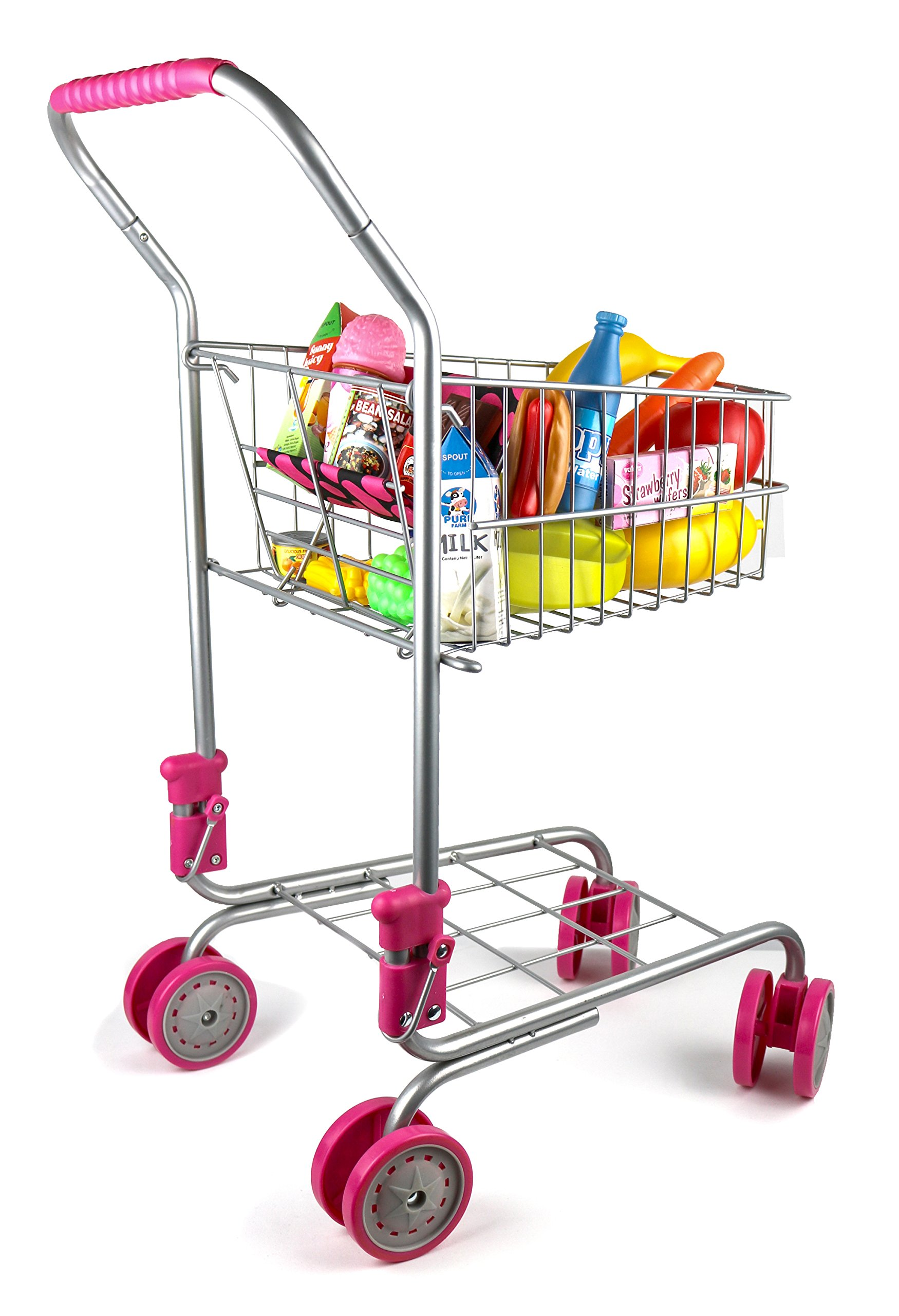 Precious Toys Kids & Toddler Pretend Play Shopping Cart With Groceries 10