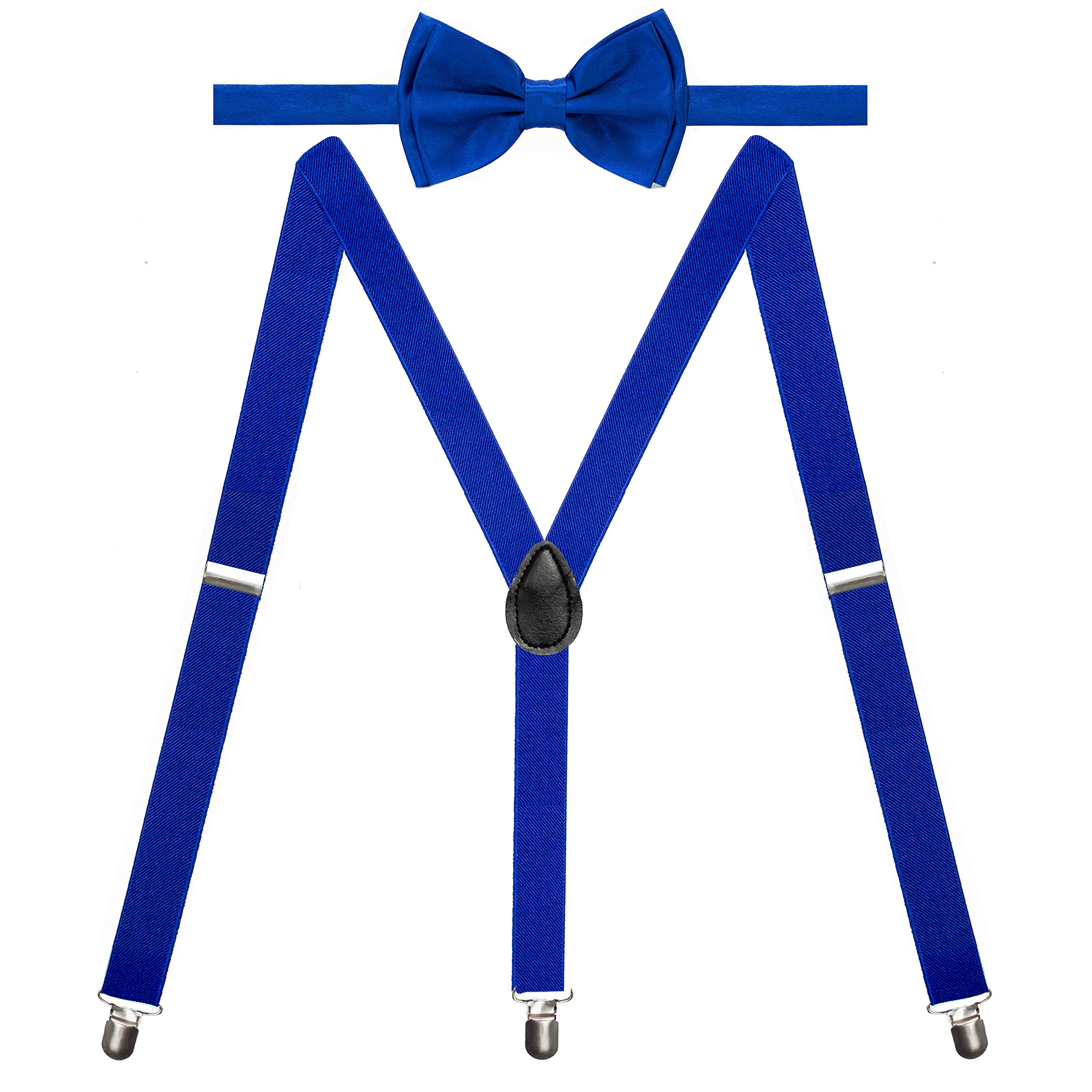 Y-Back Suspenders and Bow Tie Matching Set, Pre-Tied, Clip Design, Elastic, Adjustable Straps, Classic   Great for Weddings,Parties,Graduations, Theme Party   Nice&Unique Gifts for Men (Royal Blue) by Coster (Image #2)