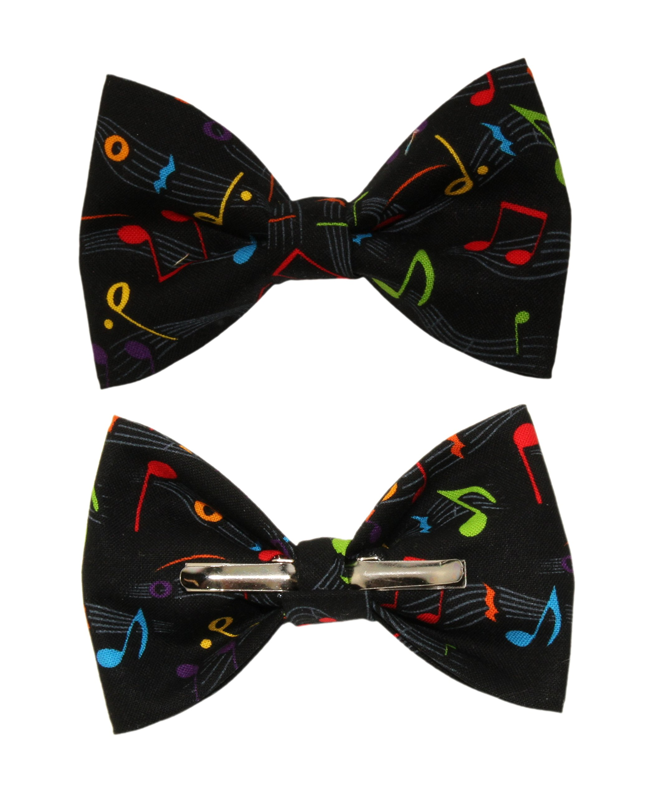 Boys Black With Colorful Musical Notes Clip On Cotton Bow Tie by amy2004marie
