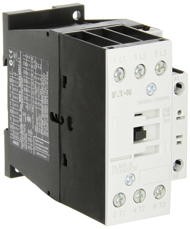 Eaton XTCE032C10A XT-IEC Contactor and Starter, 45mm, 32A AC-3 Current Rating, 10 Max HP at 230VAC, 20 Max HP at 460VAC, 25 Max HP at 575VAC, 120VAC Coil Voltage
