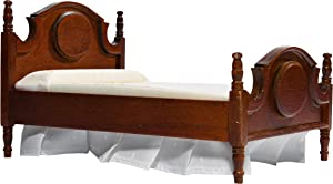 Inusitus Wooden Dollhouse Queen Bed - Dolls House Furniture Queen Bed- 1/12 Scale (Dark Brown)